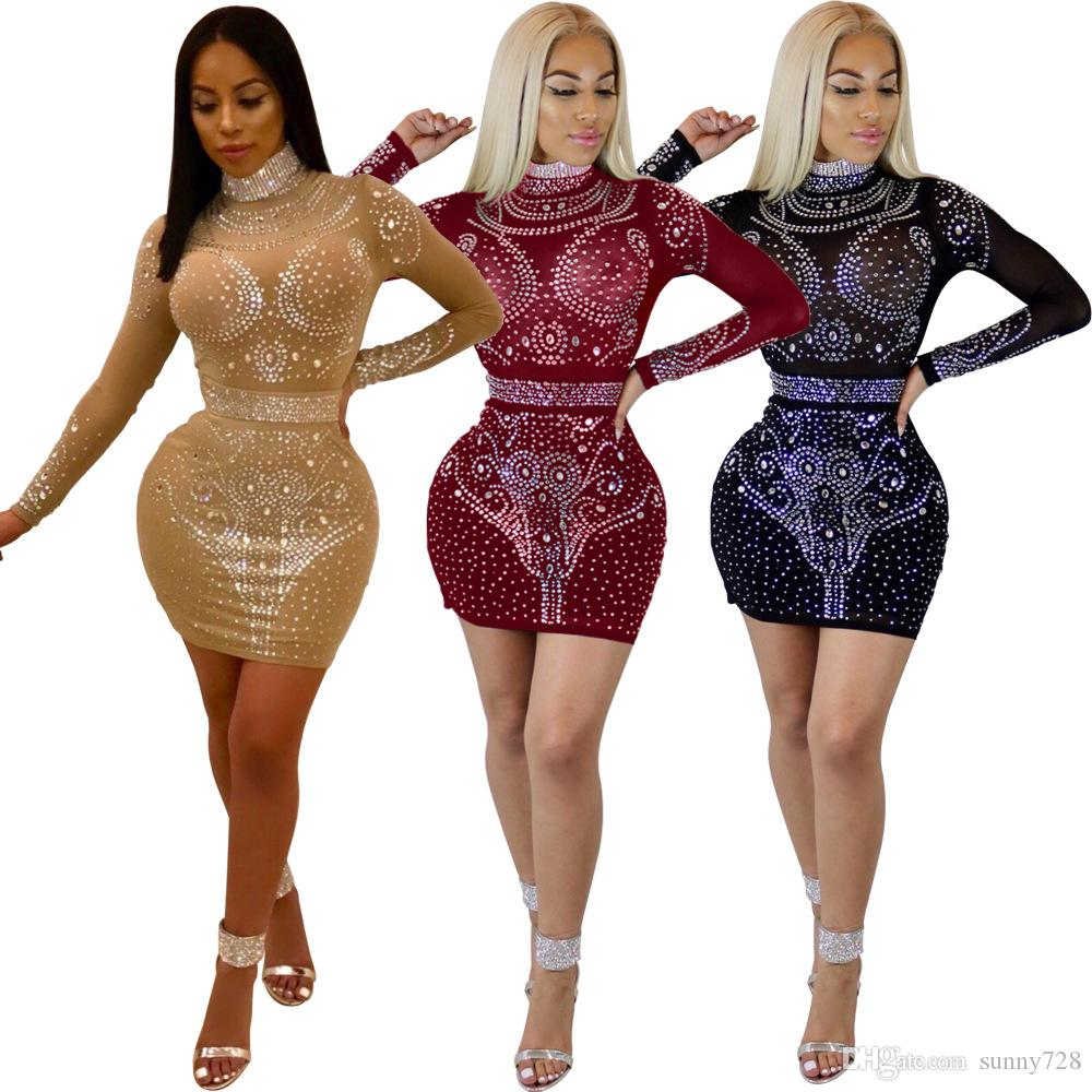 20f0913312 2018 Luxurious Full Crystals Beads Glitter Party Dresses High Neck Long  Sleeves Sheer Bandage Dress Hot Sexy Night Out Club Dress Real Image