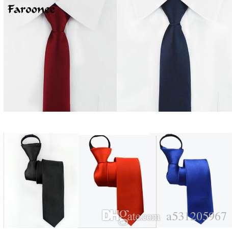 e54be889448f Pre Tied Neck Tie Mens Skinny Zipper Ties Red Black Blue Solid Color  Jacquard Slim Narrow Bridegroom Party Dress Necktie AS1648 Novelty Ties  Silver Tie From ...