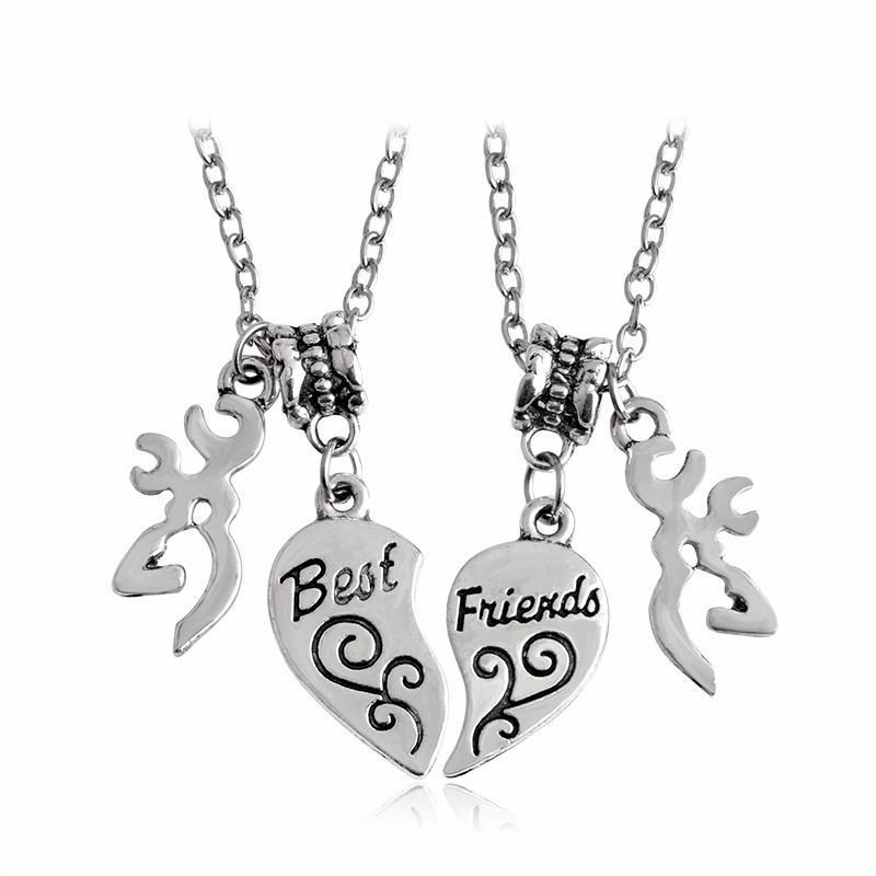 2 adet Best Friends Öpüşme Kalp Kolye Kolye Geyik Avcılık Dostluk Yaratıcı BFF Keepsake Doğum Günü Hediye