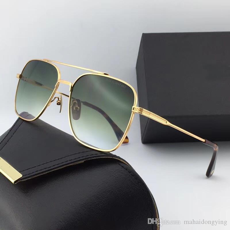 80fe8e9125623 Compre 2018 Óculos De Sol Óculos De Sol Dos Homens De Ouro   Marrom  Gradiente Estilo Retro Do Vintage Moldura Quadrada Marca Original Caso  Numd180621 21 De ...