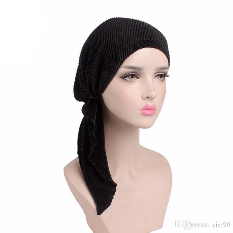 Yeni Müslüman Uzun Kat Pileli Eşarp Strech Spandex Kafatası Kemo Türban Şapkalar Beanie Kap Wrap Şapka Kanseri Hastalar