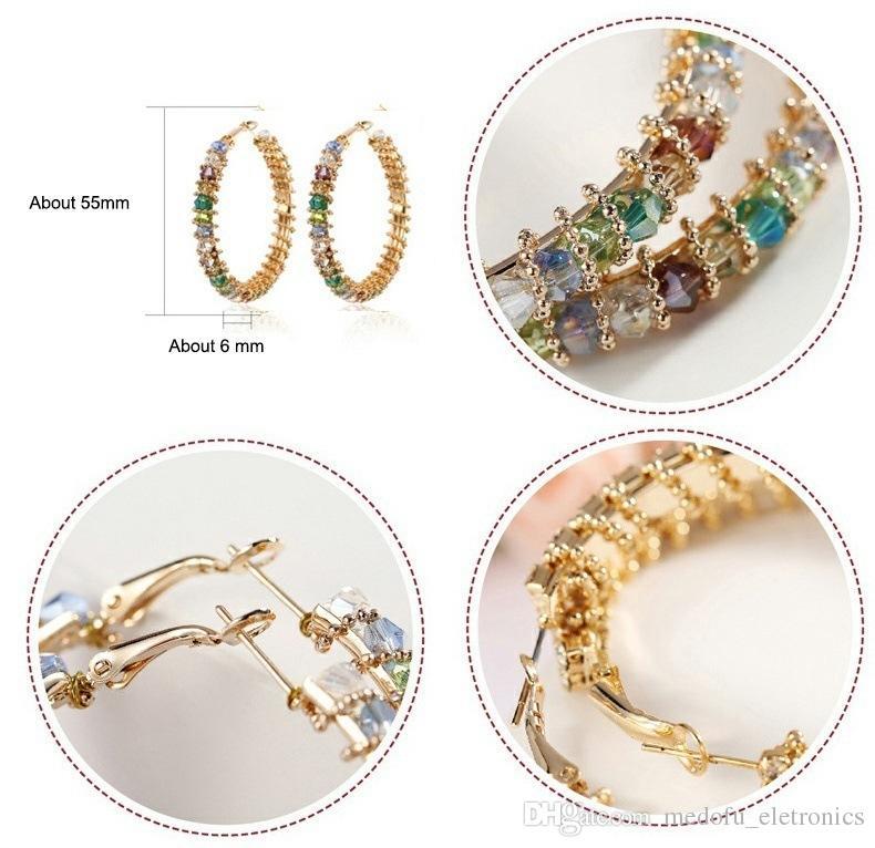 Новая мода Модные Женщины Серьги желтое золото гальваническим CZ Большие серьги обручи для девочек Женщины Nice подарков