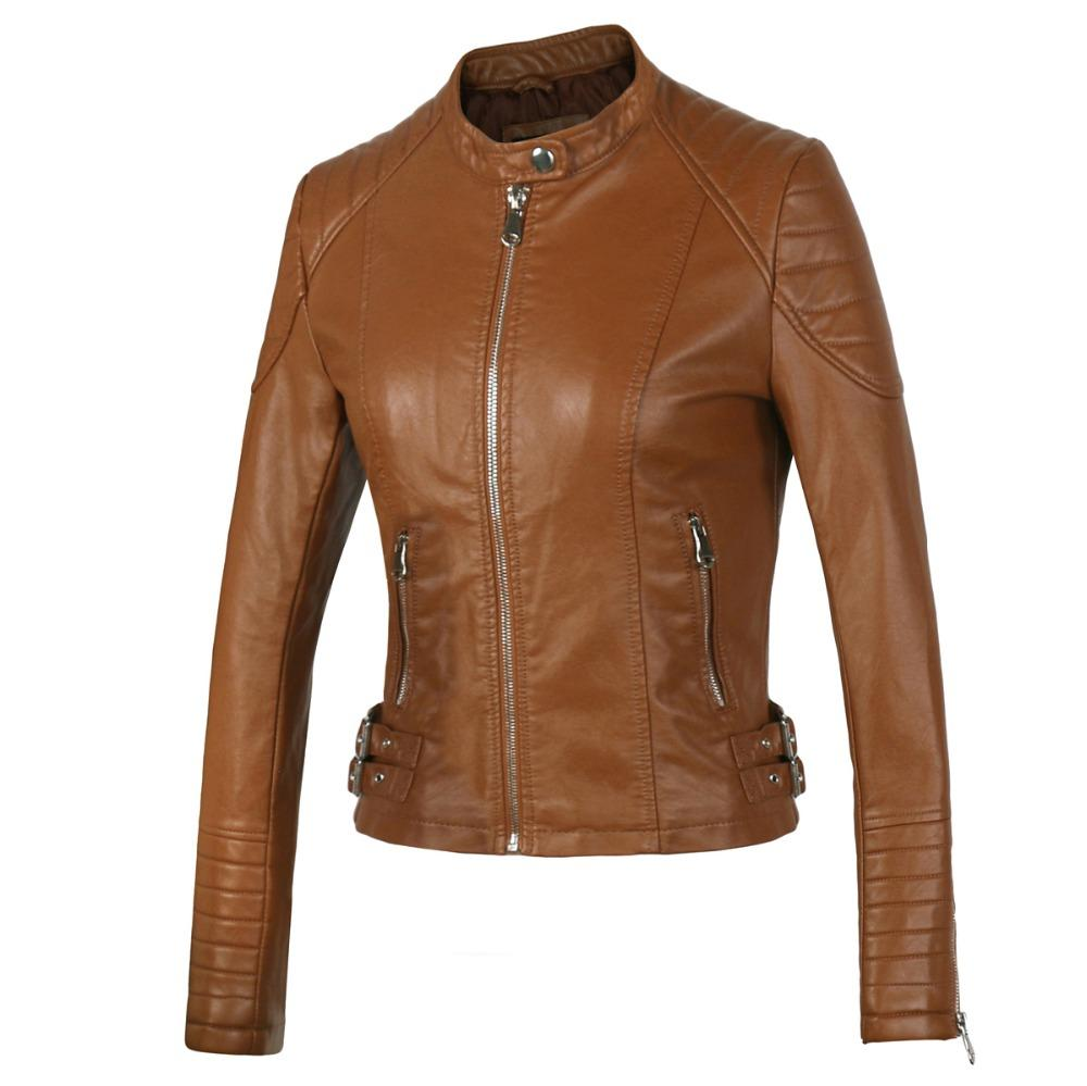 616c37424 2019 New 2018 Women S Winter Autumn Brown Bomber Motorcycle Leather ...