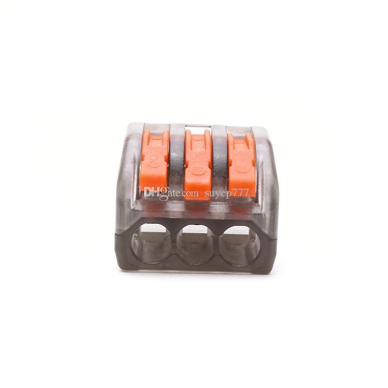 Push Wire Connector Lever Terminal Block PCT-213 222-413 3Pin Universal Compact Connectors Terminals 400V 28-12AWG 32A transparent