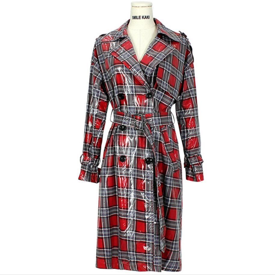28b57effc66 2019 2018 Autumn British Style Fashion Women Double Breasted Plaid Trench  Coat Long Sleeve Slim Overcoats Plus Size R492 From Caicloth