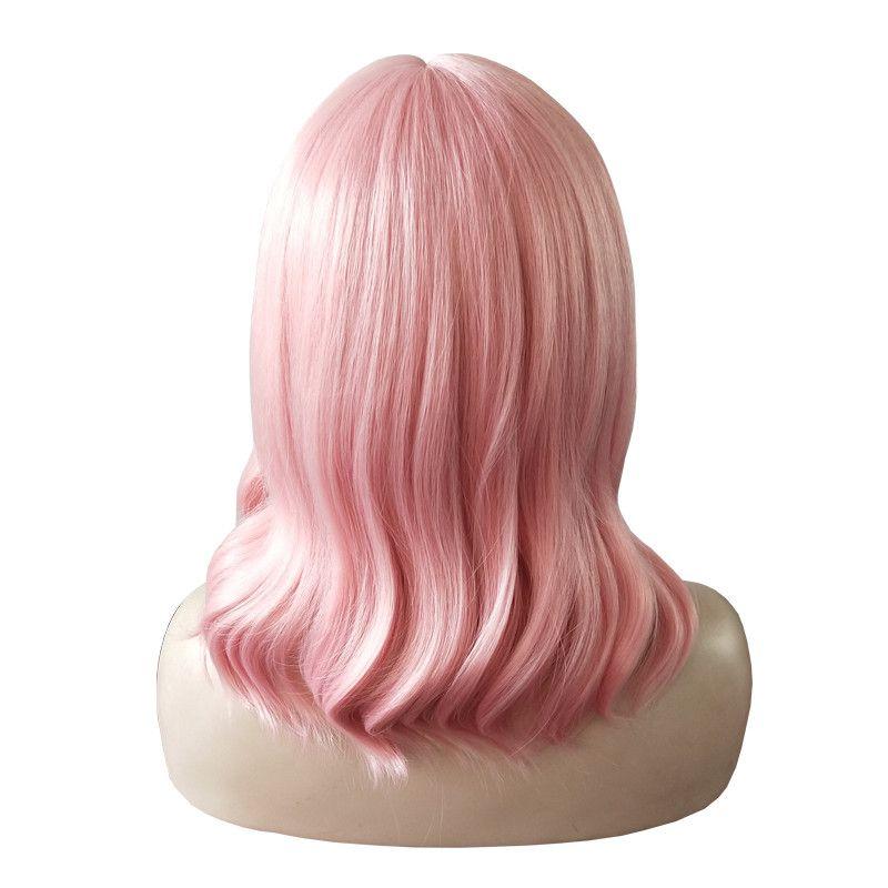 WoodFestival Hochtemperaturfaser Perücke kurze Körperwelle Rosa synthetische Perücke für Frauen mit Pony Hitzebeständigkeit