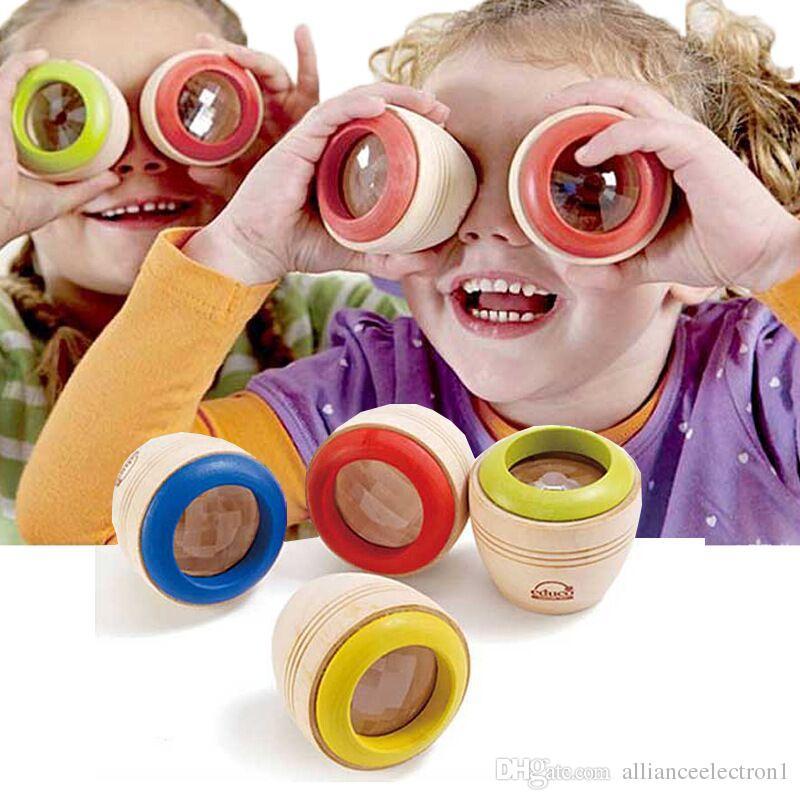Wholesale- Hot Wood Educational Magic Kaleidoscope Baby Kid Children Learning Puzzle Toy