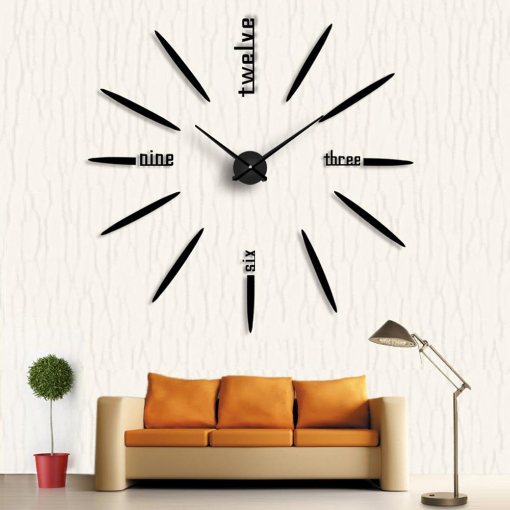 2018 New Quartz Watches 3d Big Clock Watches Acrylic Mirror Self ...