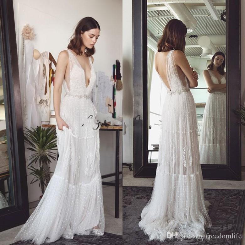 Sexy Lihi Hod Bohemian Wedding Dresses Deep V Neck A Line Lace Backless Beach Wedding Dress Sweep Train Tulle Boho Bridal Gowns