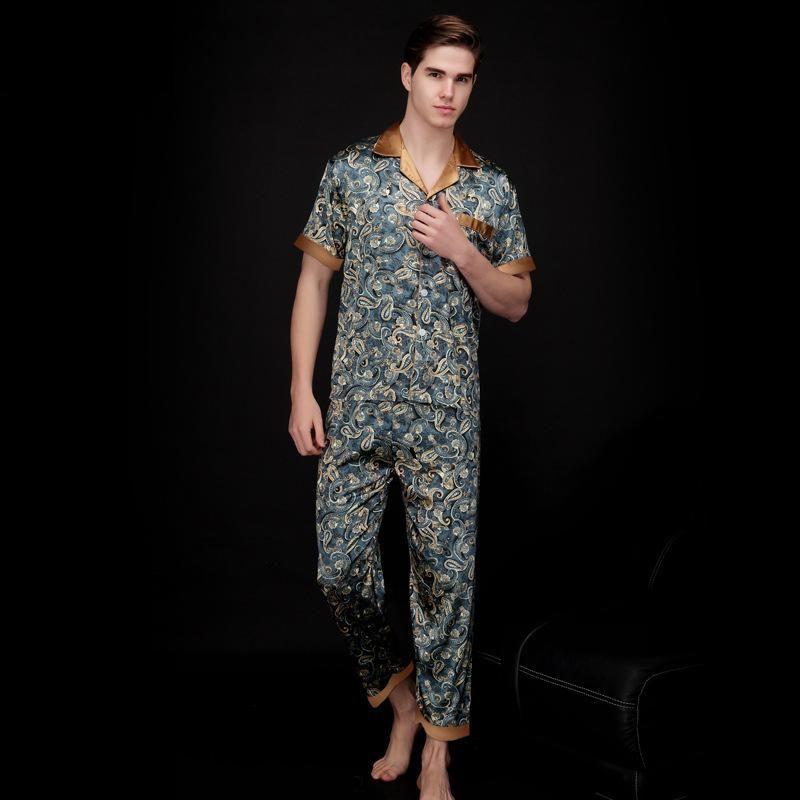 Mens Fake Silk Men Pajamas Sleepwear Summer Short Sleeve Silk Satin Nightwear Man Plus Size XXXL Paisley Pyjamas set Male