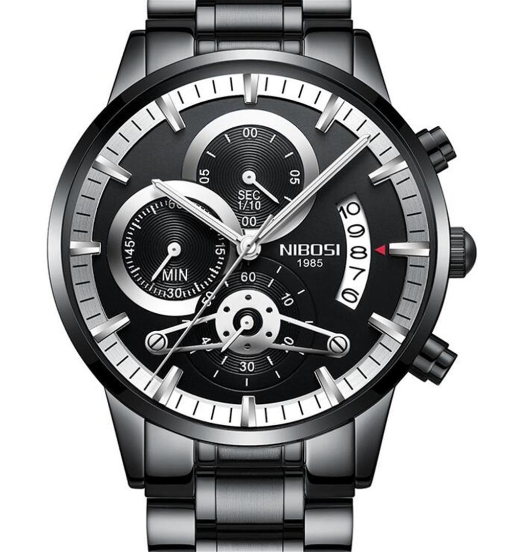 9f5da9f5f2ff Compre NIBOSI Reloj De Hombre Fecha De Lujo Reloj Cronógrafo Para Hombres  Deportes A Prueba De Agua Relojes De Acero Inoxidable Negro A  36.43 Del  Byuild ...