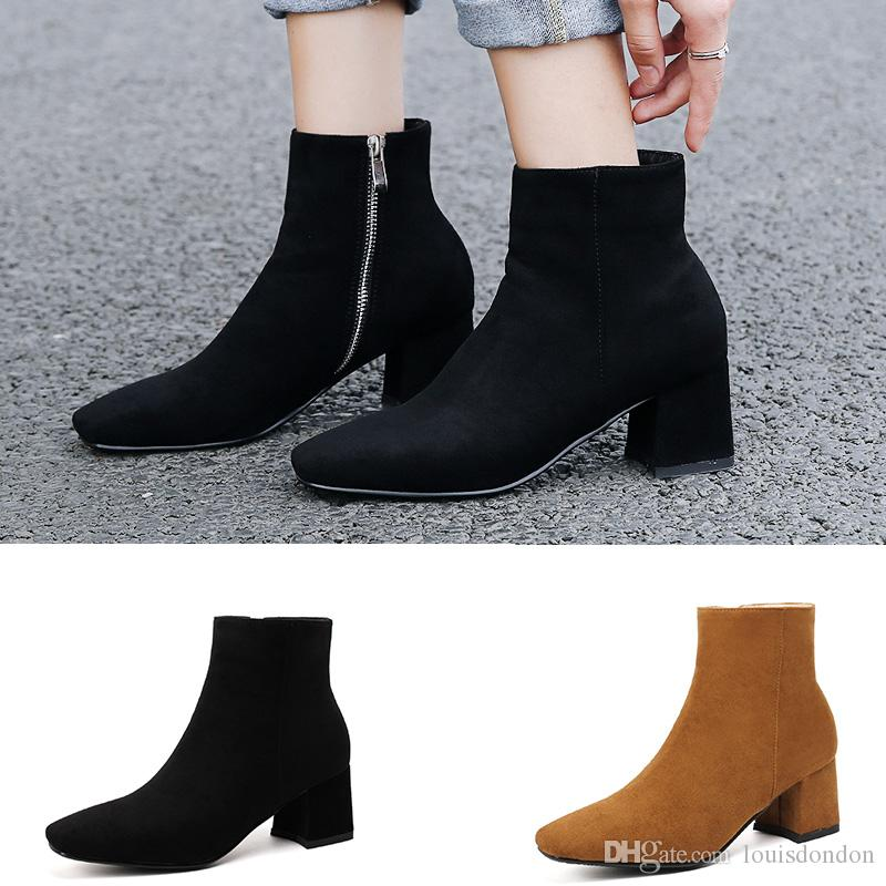 2018 Fall Winter Women S Ankle Boots Chunky Heels Suede Square Toe Short  Plush Inside Warm Soft Black Booties For Ladies Office Shoes Knee High Boots  Riding ... 5b5a6256de