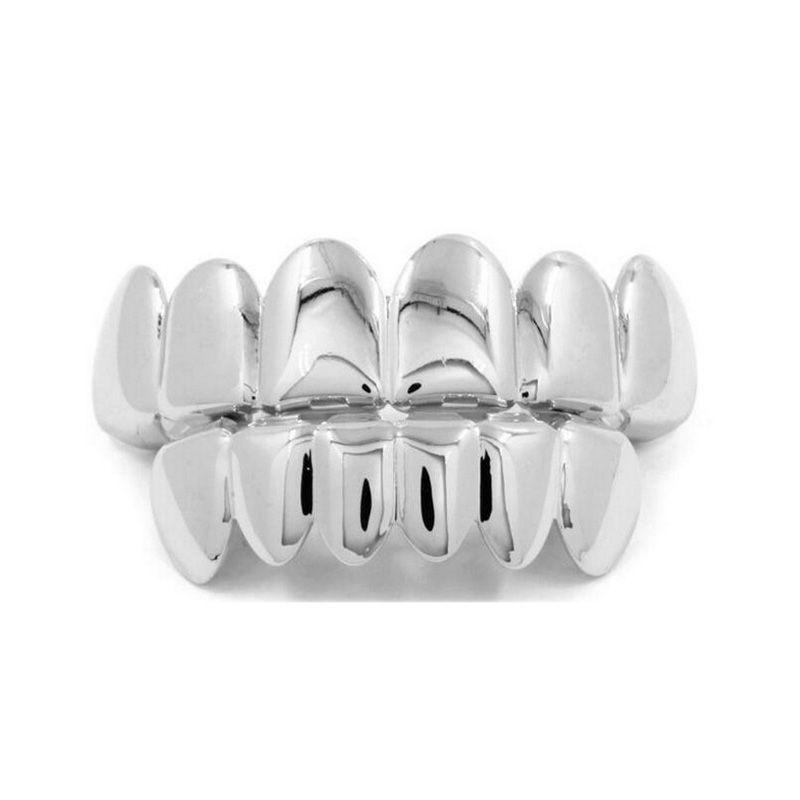 Nuevo Hip Hop Gold Teeth Grillz Top Bottom Dental Grills Boca Punk Dientes Gorras Cosplay Party Tooth Rapper Conjunto de joyas