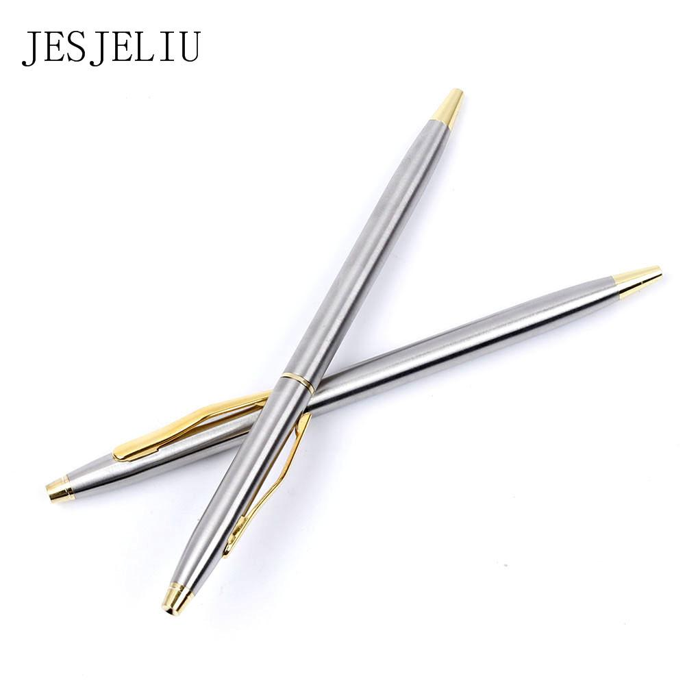 1pc Stainless steel rod rotating Metal ballpoint Pen Stationery Ballpen for Kids Students Writing Office School Supplies