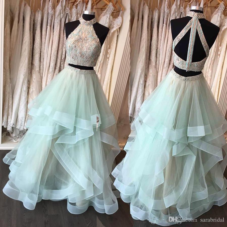Lime Green Two Piece Party Prom Dresses High Neck Lace Applique ...