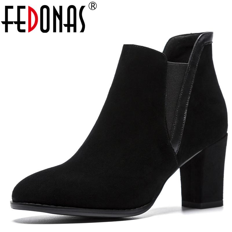 2220e911fc29 FEDONAS1Fashion Women Ankle Boots Cow Suede High Heels Shoes Round Toe  Elegant Office Lady Autumn Winter Warm Shoes Woman Pumps Bootie Buy Shoes  Online From ...