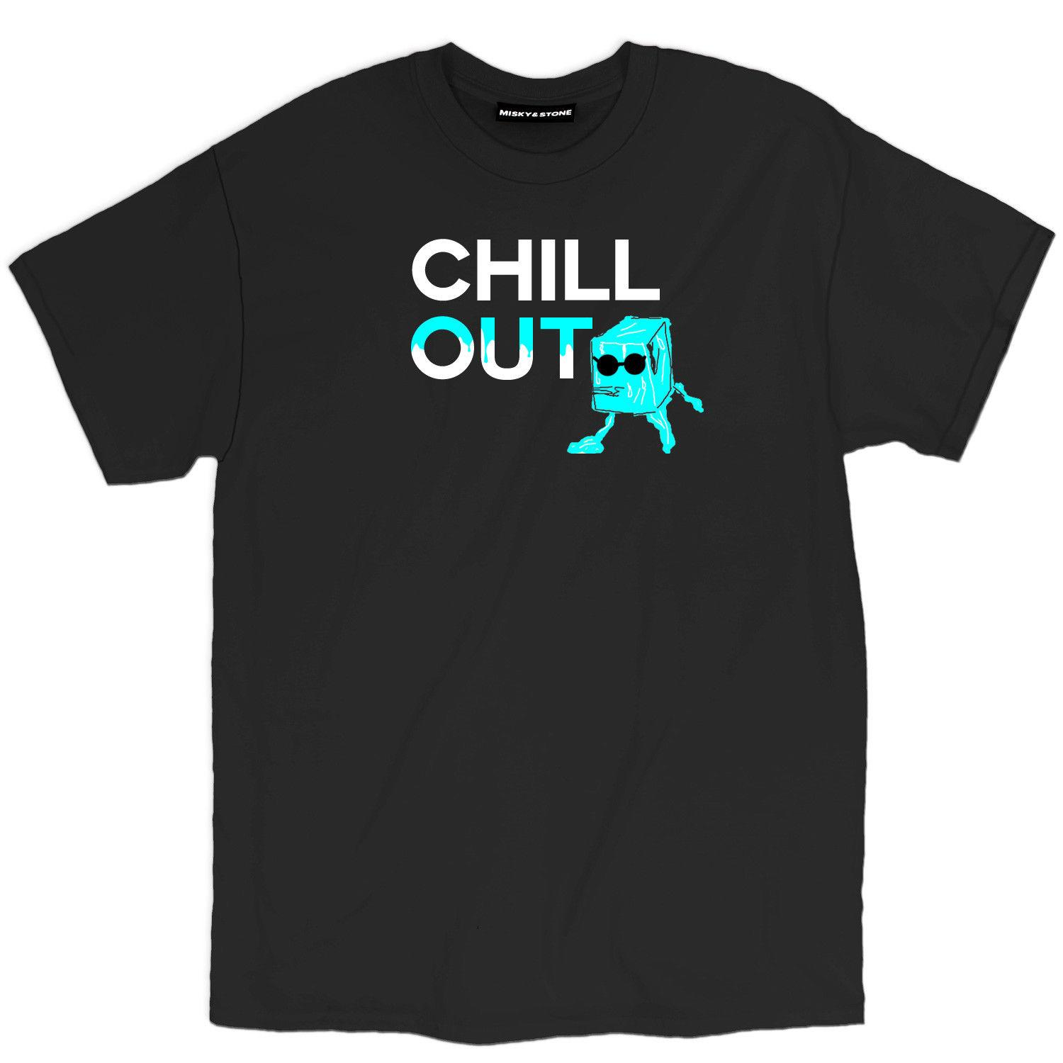Misky & Stone Chill Out Ice Cube With Shades Loose Fit Unisex Funny Humor Tee
