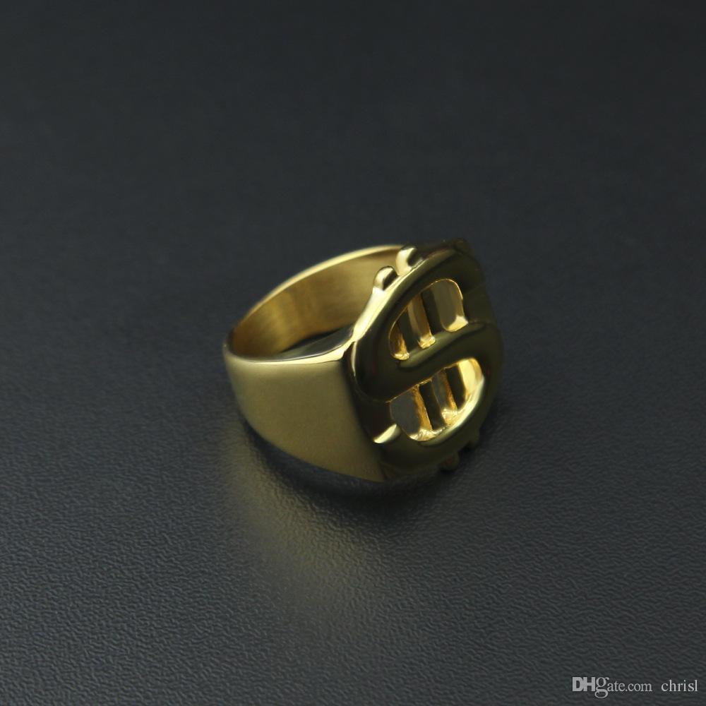 الهيب هوب روك مثلج خارج بلينغ لون الذهب التيتانيوم الفولاذ المقاوم للصدأ الدولار تسجيل الخواتم خواتم للرجال مجوهرات