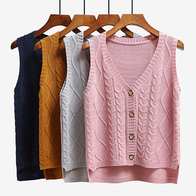 2019 Women Sleeveless Knitting Sweater Vest Pullover Autumn Basic