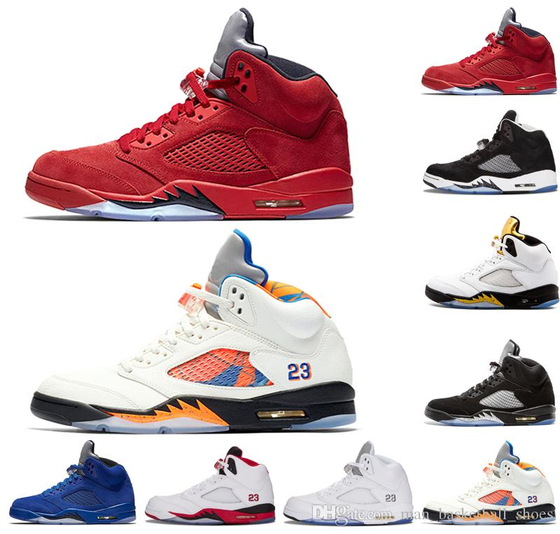dcda4397b78d Top Blue Red Suede 5 5s Men Basketball Shoes Fire Red International Flight  Metallic Silver White Cement Mens Trainers Sports Shoes Sneakers Basketball  Shoes ...
