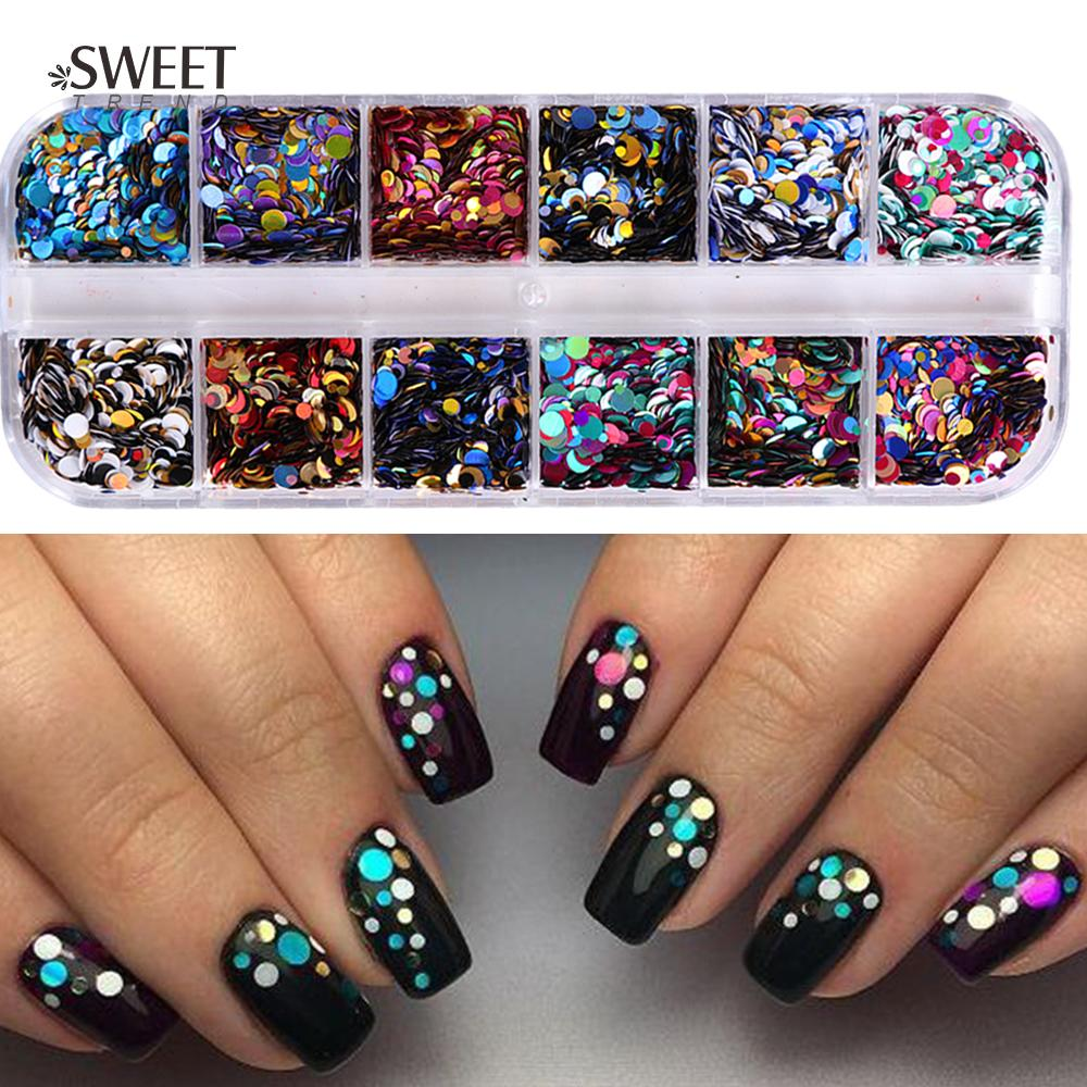 1/2/3 Mm Mixed Glitter Nail Sequins Round Shiny Paillette Nail Art ...