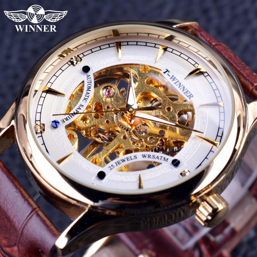 a408533f6d3 Compre Vencedor Estilo Casual Caso Transparente Marrom Pulseira De Couro  Branco Mens Dourado Relógios Top Marca De Luxo Relógio De Pulso Mecânico  Masculino ...