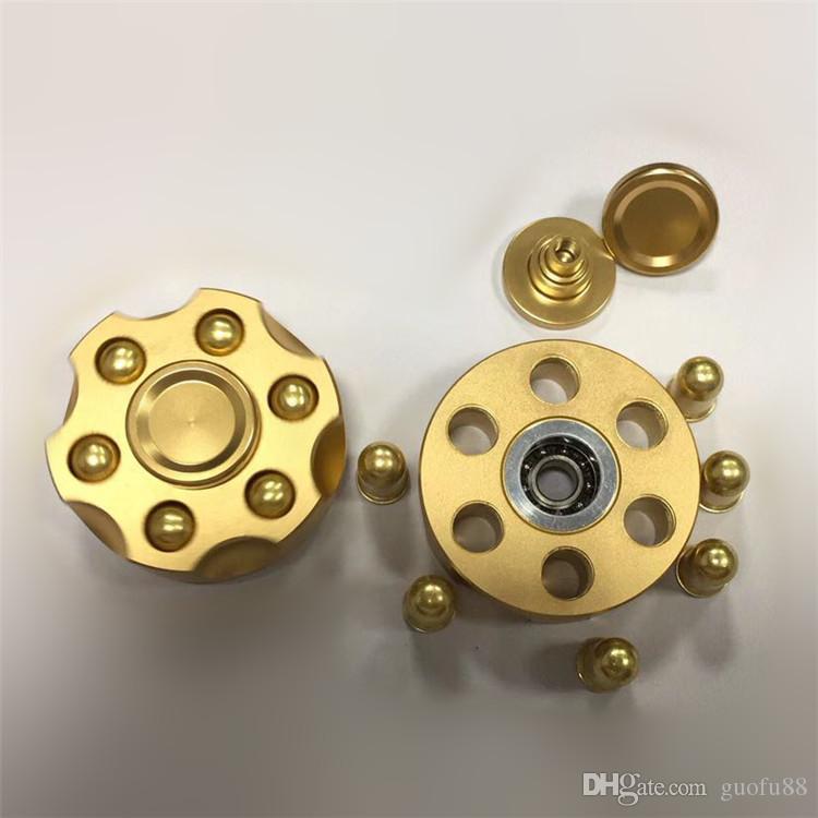 Новейшие Ручной счетчик 6 пуль револьвер непоседа Spinner EDC игрушки алюминиевого сплава декомпрессии анти-тревога палец гироскоп игрушки DHL бесплатно