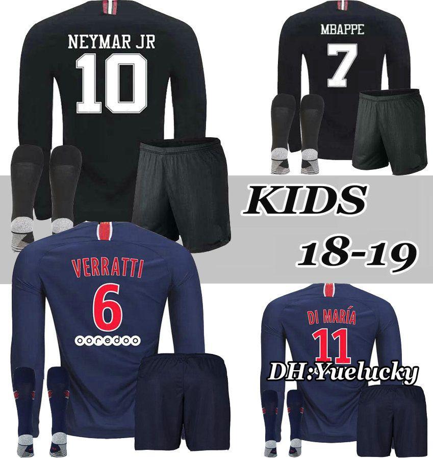 75be20444 2018 2019 Long Sleeve Kids Kit Soccer Jerseys 18 19 Home VERRATTI ...
