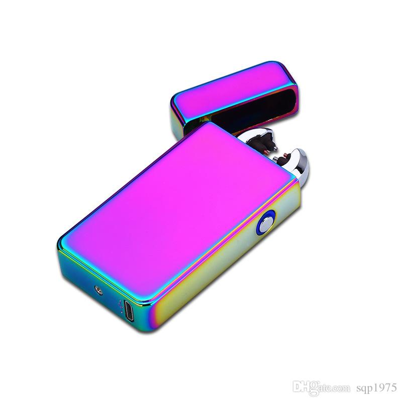 Metal windproof USB double arc pulse cap with lamp charging lighter