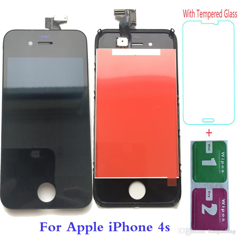 NEW Test Grade A+++ Tianma LCD Display Touch Screen Digitizer For Apple iPhone 4S Black White With Tempered Class DHL logistics