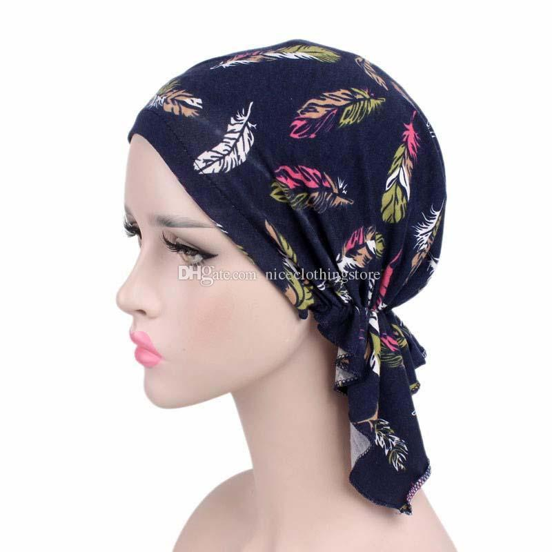 New Women Cotton Bandana Scarf Pre Tied Chemo Hat Beanie Turban Headwear  For Cancer Patients Ladies Turbante Custom Beanies Crochet Beanie Pattern  From ... a380f489e47