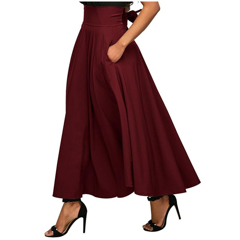 82fff1f47e Compre Las Nuevas Mujeres Del Verano Falda Larga Elegante Faldas Plisadas  Maxi De Bolsillo De Cintura Alta Corbata Alta Falda Vintage Faldas Largas  ...