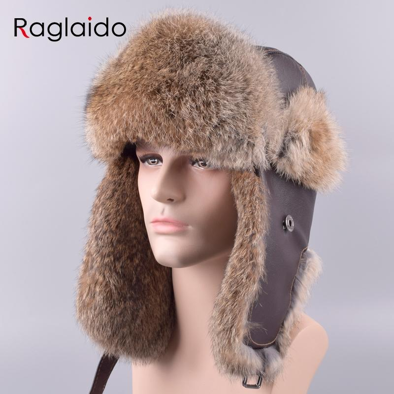759c63910e4 2019 Raglaido Men S Bomber Hats Caps Winter Aviator Hat Made Of Fur Ear  Flap Ushanka Snow Russian Panama Trapper Hat LQ11201 R From Raglaido