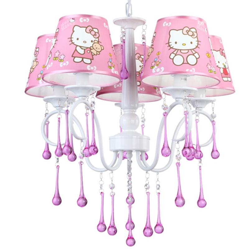 Girls Room Chandelier Children Bedroom Lamp Hello Kitty Cat Light Girl  Bedroom Light Restaurant Princess Pink Crystal Chandelier Drum Shade  Chandelier Kids ...