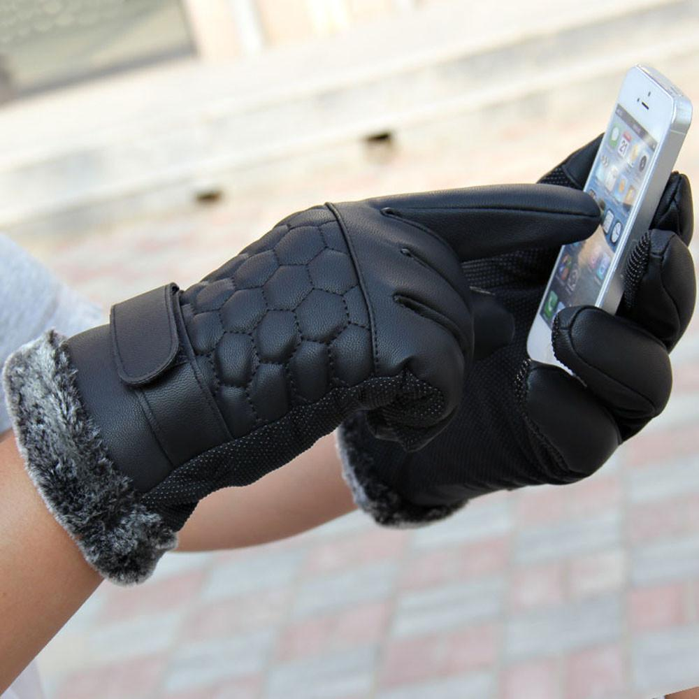 New Warm Anti Slip Men Thermal Winter Sports Leather Touch Screen Gloves Outdoor Wrist Mittens Heated Gloves