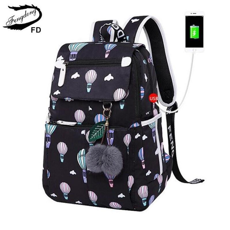 b5d9bc622250 FengDong Fashion School Backpack For Girls School Bags New Arrival 2018 Children  Backpacks Kids Cute USB Bag Schoolbag Bookbag Y18110107 Discount Backpack  ...
