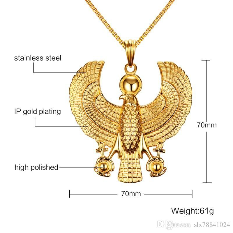 Stainless Steel Horus Gold Men's Pendant Necklace