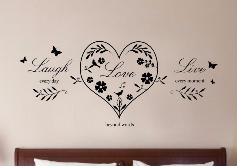 Removable Wallpaper Live Laugh Love Heart Quote Wall Sticker For