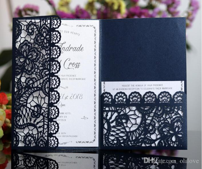 Horizontal Laser Cut Wedding Invitations Cards With RSVP White Navy Blue Pearl Paper Invite Card Stock For Birthday Party Supply
