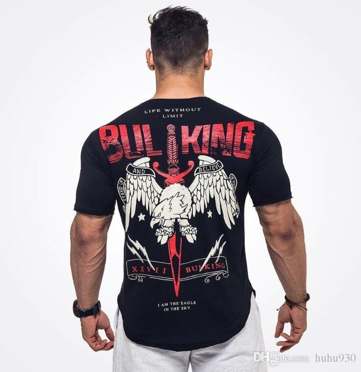 2018 Yeni Spor Salonları Erkekler Tee Yaz Vücut Geliştirme ve Fitness Erkek Düzensiz Hem Kısa Kollu T-shirt Gömlek