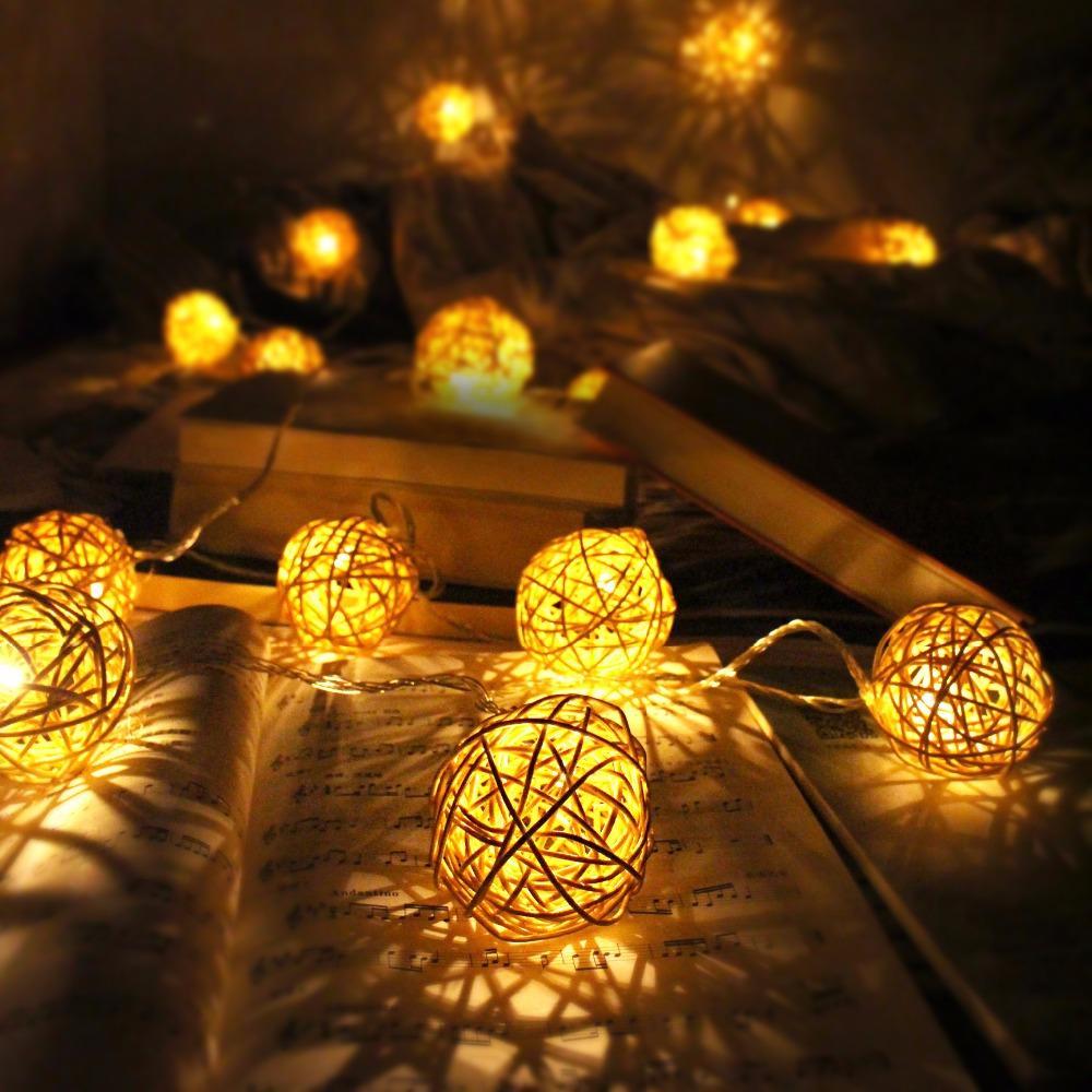 66d9517b6b Grande bola de vime 6 cm cadeia de luz cadeia de luz de natal ao ar livre  indoor 5 M 20 casamento decoração da casa de fadas luzes guirlanda ano novo  UE   ...