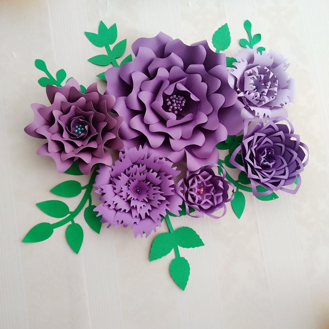 Compre Diy Medio Hizo Papel Gigante Flor Rosa Plantillas Con