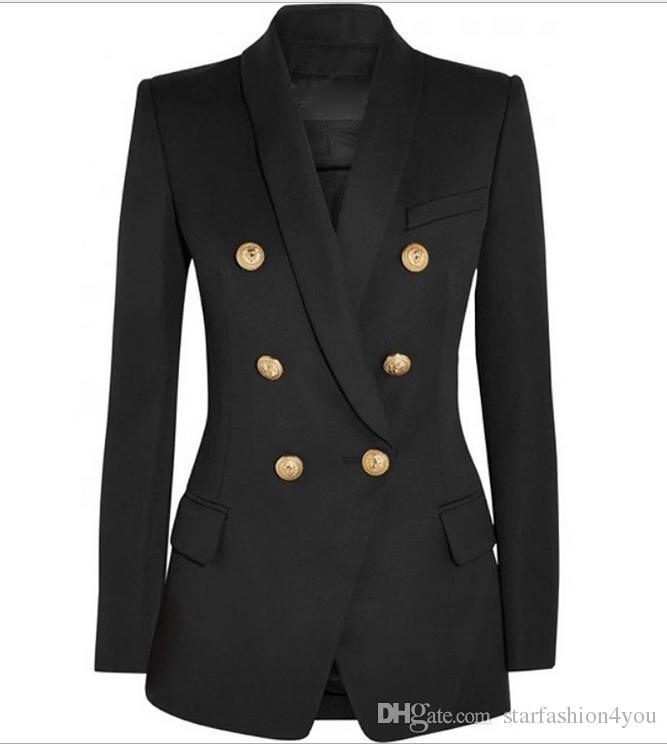 Prime New Style Qualité originale conception double boutonnage Femmes Slim Veste Blazer Buckles métal rétro col châle Outwear 3 couleurs