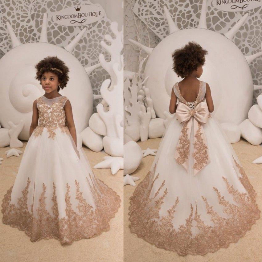 ae01014ac Lovely Gold Appliques Flower Girl Dresses 2019 Kids Toddler Formal Birthday  Communion Gowns Big Bow Sash Back Floor Length Adorable Flower Girl Dresses  ...