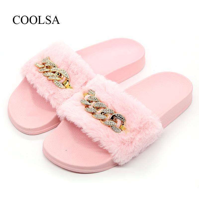 f50a12576fb913 COOLSA Brand Women S Summer Fashion Faux Fur Plush Slippers Flipflop Sandals  Fluffy Flip Flop Furry Mule Women S Furry Slippers Desert Boots Mens  Slippers ...
