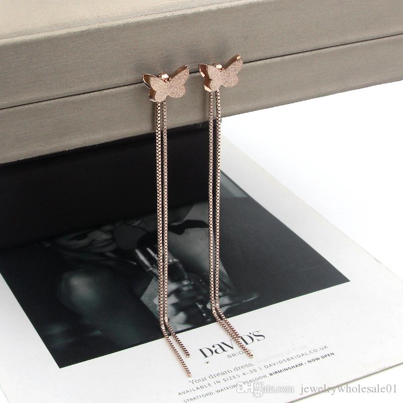 Butterfly earrings Korean temperament long rose gold frosted butterfly box chain tassel earrings personalized wild titanium steel earrings