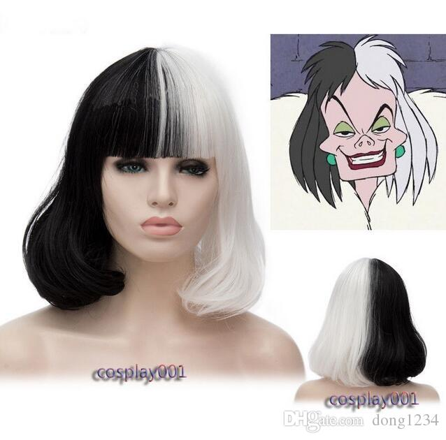 Cruella De Vil Costume Wig Black White Ms. Spot Hair Deville Dalmations Wig  Lace Hair Wigs Wigs For You From Dong1234 25812ea064fb