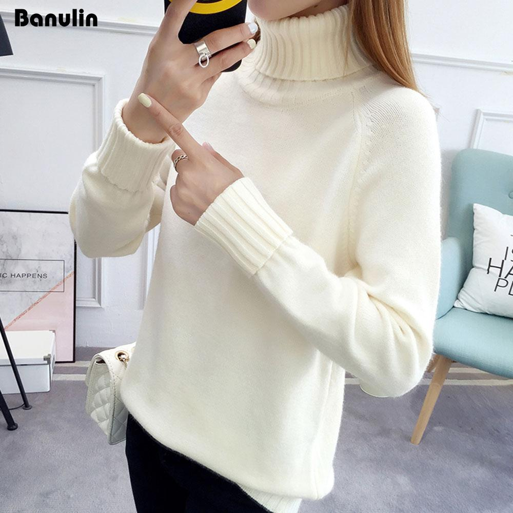 3e0764d69f Banulin Women Turtleneck Winter Sweater Women 2018 Long Sleeve Knitted  Sweaters And Pullovers Female Jumper Tricot Tops UK 2019 From Qingchung