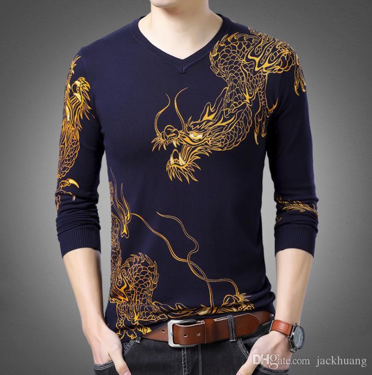 2019 2018 New V Neck Long Sleeve Cotton Print Sweater Men S Dragon Tattoo  Design Spring Autumn Thin Knitting Sweater Shirt From Jackhuang 9385de698