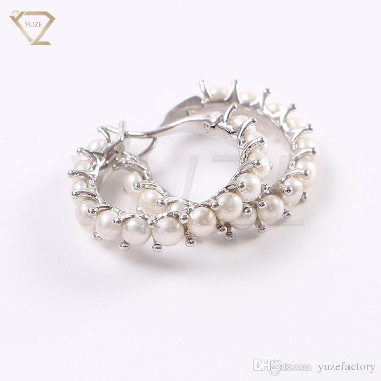 2ebae8e0d 2019 Wholesale 925 Sterling Silver Womens Beaded Hoop Earrings 2018 Popular  Saudi Gold Earring Design Hoop Pearl Earrings Wholesale From Yuzefactory,  ...
